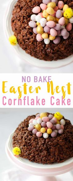 This easy GIANT Easter Nest Cornflake Cake Recipe is so much fun to make. Simple and really tasty, a fab no bake Easter make full of candy treats. It uses just 5 store cupboard ingredients - butter, chocolate, golden syrup and cornflakes.. Topped with Mini Eggs of course! via @tamingtwins