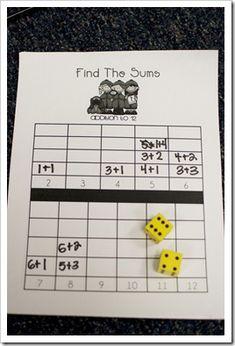 """zoooooo makkelijk, dat ik er zelf niet opkwam """"math find the sums game"""", """"number sense - might be a great center activity for grade math! Addition Games, Math Addition, Teaching Addition, Addition Activities, Math Stations, Math Centers, Fun Math, Math Activities, Therapy Activities"""