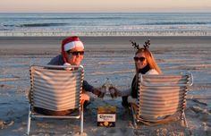 """Couple Christmas Card Idea. A Play on Carona's """"Find Your Beach"""" campaign"""