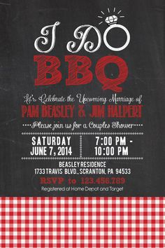 Printable I Do BBQ Barbecue Couples/Coed Wedding by PuzzlePrints