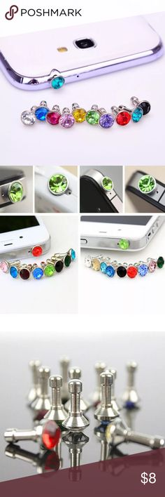 Cell Phone Crystal Rhinestone Anti Dust Plug Brand new in the package! Perfect little accessory for your phone! Insert right into the headphone jack to protect from dust getting inside! Comes in 7 different colors! Dani's Boutique Accessories Phone Cases