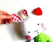 Bunny rabbit stuffed bunny rag doll bunny stuffed toy stuffed rabbit softie soft toy bright red white lime green 31 cm 12 gift for Easter