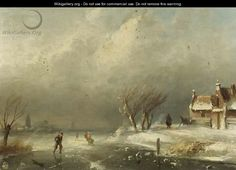 Figures skating on a frozen waterway on a windy day - Charles Henri Leickert