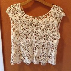 "Crochet lace top Scoop neck . Chest measures 36"" and length is 20"" Tops Blouses"