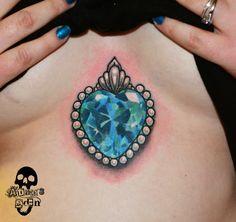 Blue Gem Heart Tattoo, #AdamsEdenTattoos <3