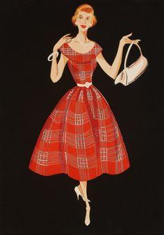 FASHION ILLUSTRATIONS, 1950's.