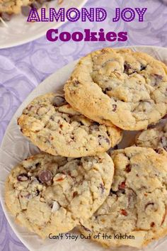 Almond Joy Cookies | Can't Stay Out of the Kitchen | these amazing #cookies are filled with #chocolatechips #almonds and #coconut. Great for #holiday baking. #dessert