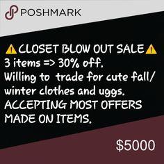 CLOSET BLOWOUT SALE Starting oct. 11th ending November 5th!! Make an offer! Buy a bundle! Make a tr@de !! Accessories Hair Accessories