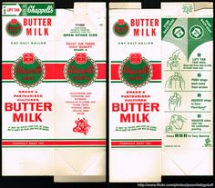Though it's not easy to make out, I think this buttermilk carton predates the familiar design I grew up with. Barbie Dolls Diy, Barbie Food, Grocery Items, Grocery Store, Paper Doll House, Package Box, Printable Box, Vintage Packaging, Paper Book