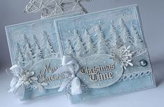Dorota_mk: Nadal mroźnie With Tim Holtz Tree Line Die Homemade Christmas Cards, Christmas Cards To Make, Blue Christmas, Xmas Cards, Handmade Christmas, Homemade Cards, Holiday Cards, Christmas Crafts, Christmas Night