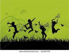 Celebrate Life  Child's Spirit    Happy Women Jumping Stock Vector 62465779 : Shutterstock