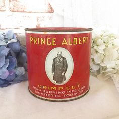 Antique Prince Albert Pipe tobacco Tin litho Can box Vintage Crimp Cut Cigarette advertising storage kitchen canister Red gold round jar by WonderCabinetArts