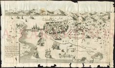 "[Uknown], ""Abbildung der Festung und Stadt Negroponte"" [View of the fortress and town of Chalkis], no place or date, but most probably Germany c.1660-1690. Unrecorded (no copy tracked in any library), with title in German. Copper engraved 33x20cm folded, in fair condition, without loss of image but marginal tears with few marginal loss. Weak paper pasted on contemporary harder paper from baroque handwritten musical score work! Most probably separated printed to celebrate a Venetian fleet…"