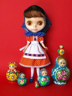 "Matryoshka Blythe - Clothes set: ""Devotchka"" by Helena / Funny Bunny, via Flickr"