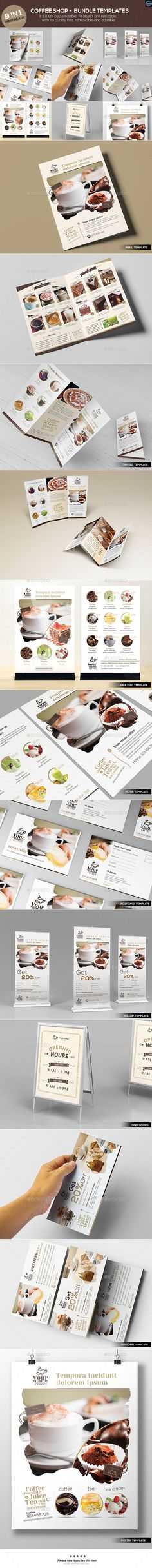 Coffee Shop  Bundle Templates — Photoshop PSD #poster #coffee flyer • Available here → https://graphicriver.net/item/coffee-shop-bundle-templates/12527338?ref=pxcr