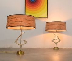 Charming A Pair Of 1960s Mid Century Modern Sculptural REMBRANDT Table Lamps Vintage