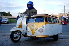 Vespa scooter with VW campervan sidecar. I've always wanted a scooter with a sidecar. Volkswagen Bus, Vw Camper, Mini Camper, Volkswagen Beetles, Volkswagon Van, Lambretta Scooter, Vespa Scooters, Piaggio Vespa, Vespa Bike