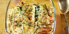 Boodschappen - Courgettelasagne met gerookte zalm Great Pasta Recipes, Dinner Recipes, Quiche, Zucchini, Homemade, Vegetables, Breakfast, Hot, Lasagna