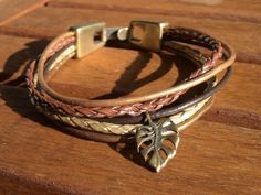 brown gold multistrand womens leather bracelet with by kekugi, $32.00