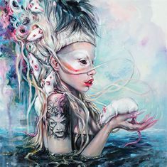 I found this amazing painting of Yolandi Visser and her albino rats made by Tanya Shatseva. This painting caught my eye instantly. I couldn't scroll past it.