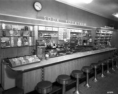 Soda fountain at Hall Drug, Mora Minnesota, 1953
