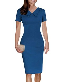Turn Down Collar Zipper Solid Color Short Sleeve Tight Dress Sheath Dress on fashionsure.com