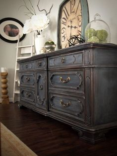 Dresser styling entry with French Provencal distressed chalk paint dresser - this is gorgeous and dramatic!