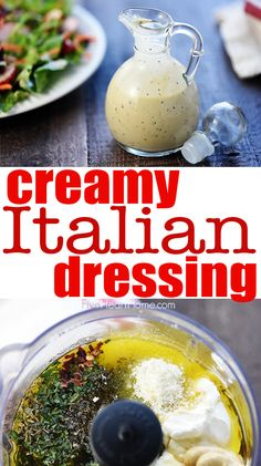 Homemade Creamy Italian Dressing is zesty, flavorful, and easy to make.a delicious topping for a crisp green salad or your favorite pasta salad! Creamy Italian Salad Dressing Recipe, Pasta Salad Italian, Salad Dressing Recipes, Pasta Salad Recipes, Pasta Salad Dressings, Dressing For Pasta Salad, Creamy Pasta Salads, Sauces, Vegetarian Italian