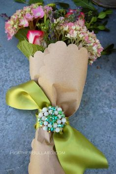 How to dress up flowers for a hostess gift, etc.