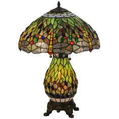 Dragonflies Dive U0026 Circle Over Green U0026 Brown Leafy Rippled Glass Lit  Base Tiffany Hanginghead Dragonfly Table Lamp Mahogany Bronze Finish Free  Insured ...