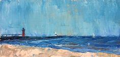 On North Beach by maggie capettini Oil ~ 4 x 8