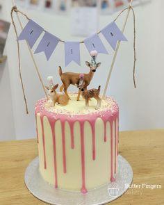 Smaller cake for a girls birthday 7th Birthday Cakes, Animal Birthday Cakes, Unique Birthday Cakes, Novelty Birthday Cakes, Animal Cakes, Deer Cakes, Panda Cakes, Woodland Cake, Bakery Cakes