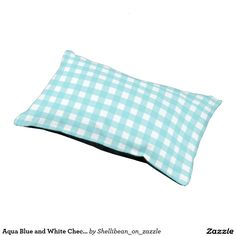 Aqua Blue and White Checkered Gingham Small Dog Bed