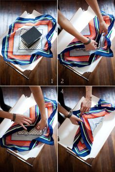 Scarf as wrapping paper. For a scarf addict like me, this is a wonderful idea. Eco-friendly too!