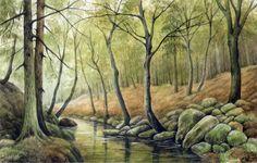 "Watercolor Original 8,3"" x 5,2"" Painting a Day Landscape by Elena Mezhibovsky #Miniature"