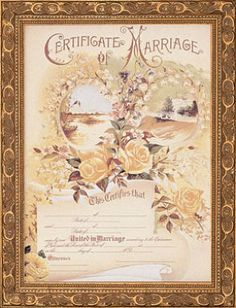Vintage Certificate of Marriage