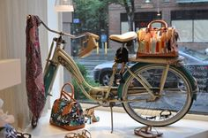 Good window display if your consignment or resale shop is at that awkward in-between-seasons point. A bike with accessories! Found for you at Swirl Mkting by TGtbT.com