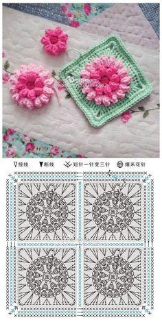Mandala Au Crochet, Crochet Motifs, Granny Square Crochet Pattern, Crochet Diagram, Crochet Chart, Crochet Squares, Crochet Stitches, Motifs Granny Square, Flower Granny Square