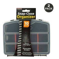 2-Pack Snap-Close 10-Compartment Tool Organizer Case