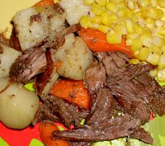 easy shredded beef-crockpot recipe- gotta get a crock pot and try this!
