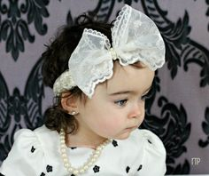 Ivory Vintage Inspired Lace Bow Headband by TresMariposasCouture, $14.99