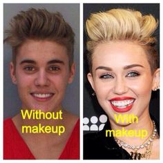 Bieber and Cyrus: Maybe they're pod people... Maybe it's Maybelline.