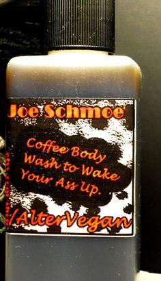 Joe Schmoe Coffee Body Wash / Liquid Soap 'for men' - Vegan, Palm-free - 8oz. $9.25, via Etsy.