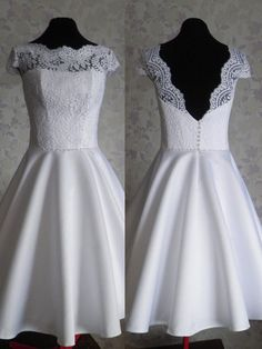 A-Line Prom Dress, Chiffon Prom dress, Short Prom Dress, Lace Prom Dress, White…