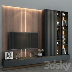 Tv Cabinet Wall Design, Tv Wall Cabinets, Tv Wall Design, Living Room Wall Units, Living Room Tv Unit Designs, Home Living Room, Living Room Decor, Modern Tv Room, Modern Tv Wall Units