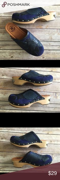 Lucky Brand blue suede clogs Lucky Brand Fable blue suede clogs with wooden heels. They are in good condition. The heel measures about 2 inches tall and the platform is about 1.5 inches. Lucky Brand Shoes Mules & Clogs
