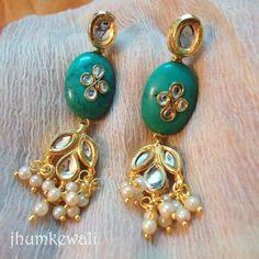 KUNDAN n turquoise earrings - Online Shopping for Earrings by Jhumkewali