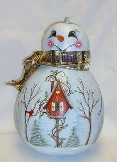 Snowman Gourd with Birdhouse  Hand Painted Gourd by FromGramsHouse, $42.00