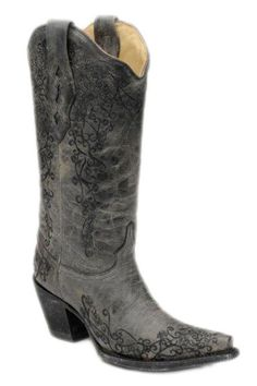 Corral Boots Women's Black Crater Embroidered Snip Toe Cowgirl Boots  Corral Boots