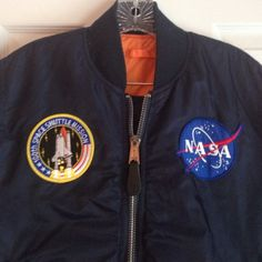 SOLDAuthentic NASA bomber jacket Amazing NASA bomber jacket. Size S/M. Reversible Navy with patches to a reflector orange. Cotton elastic at cuffs, around waist and neck. Super warm. Jackets & Coats